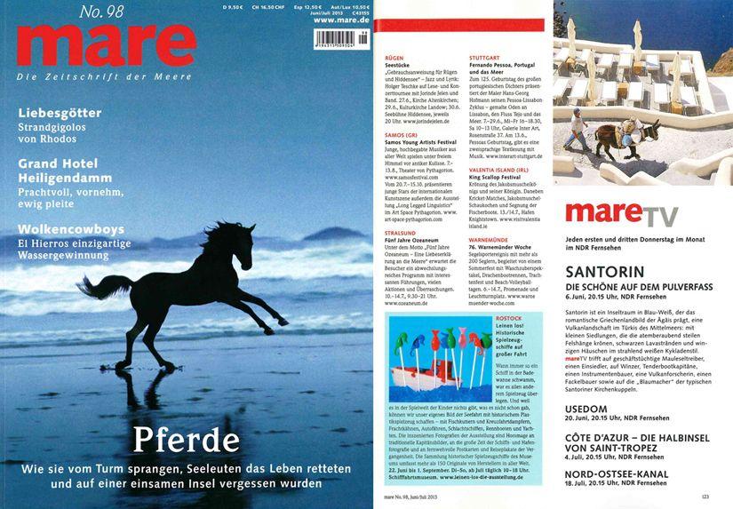 Zeitschrift Mare mit Hinweis auf die Ausstellung Leinen los
